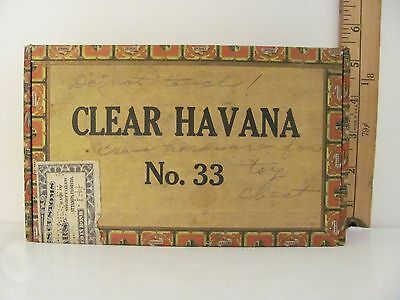 Vintage Empty Cigar Box Solid Wood and Paper Clear Havana No. 33 (Lot #2)