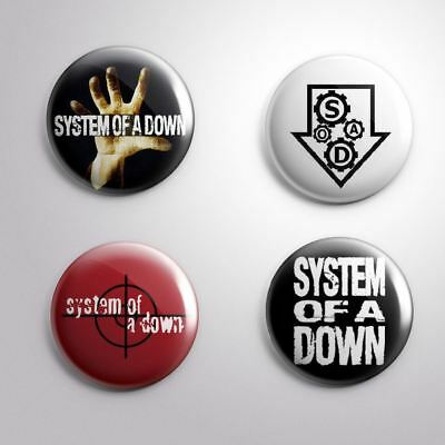 4 SYSTEM OF A DOWN - Pinbacks Badge Button 25mm 1''
