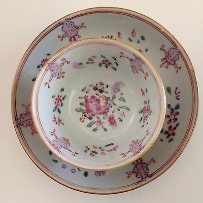 pre 1800 ( 1736-1795 ) Qianlong Famille Rose Teacup and Saucer