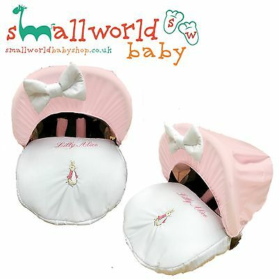 Personalised Pink Peter Rabbit Baby Car Seat Cover (NEXT DAY DISPATCH)