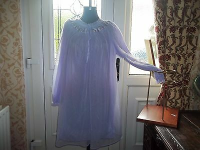 Vtg 1960's Double Layered  Nylon Lacy Mauve Babydoll Nightie Negligee 10-14