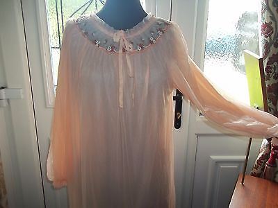 Vtg Double Layered  Nylon Peach Babydoll Nightie Negligee 10-14 St. Michael
