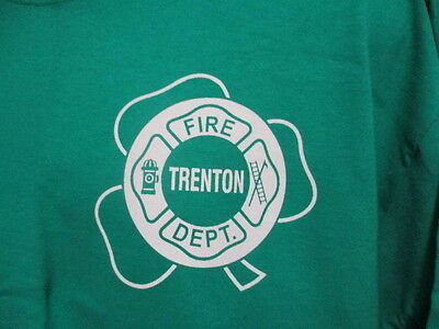 Trenton Fire Department, St. Patrick's Day T-shirt, Green, Large, Brand New