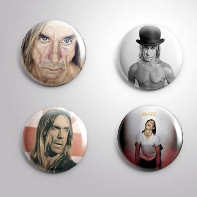 4 IGGY POP THE STOOGES - Pinbacks Badge Button 25mm 1''