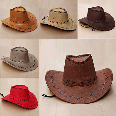 Fashion Men's Vintage Western Cowboy Wide Brim Cap Faux Suede Leather Hat