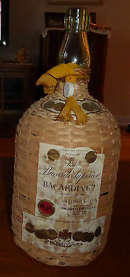 Vintage Ron Bacardi Superior Rum Bottle with Wicker Cover