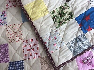 SMALL HANDMADE  PATCHWORK BABY QUILT SITTING MAT BLANKET 100% cotton