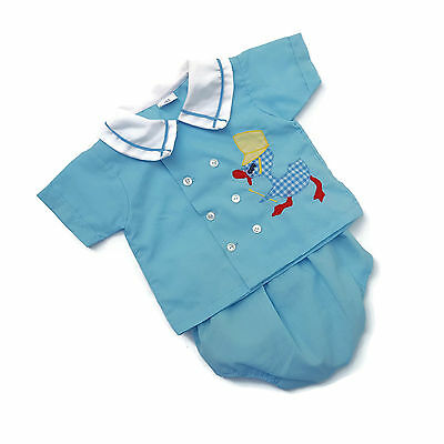 Vintage Baby Boy Diaper Shirt Pants Outfit Blue Duck 70s 80s 0 - 6 months