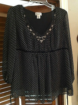MOTHERHOOD MATERNITY L Blk/Wht Empire Polka Dotted Lined Lace 3/4 Sleeve  Top