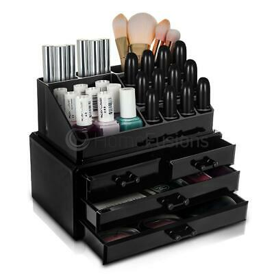 Black 4 Drawer Cosmetic Organiser Makeup Rack Acrylic Nail Lipstick Display Stan