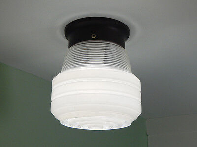 Flush Mount Ceiling Light. Vintage Glass Shade. New Fixture Base