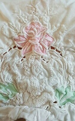 Vintage Pillow Case With Appliqued Floral Design, Embroidery and Cutwork