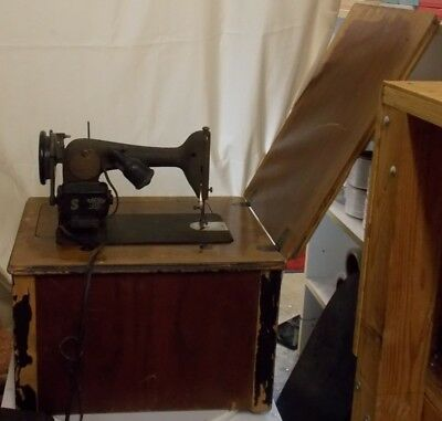 Vintage 1947 Singer Model 66 Electric Sewing Machine and Cabinet
