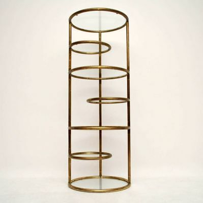RETRO ITALIAN BRASS DISPLAY CABINET / SHELVING STAND VINTAGE 1970's