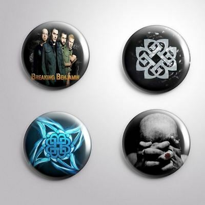 "4 BREAKING BENJAMIN- Pinbacks Badges Buttons 1"" 25mm"