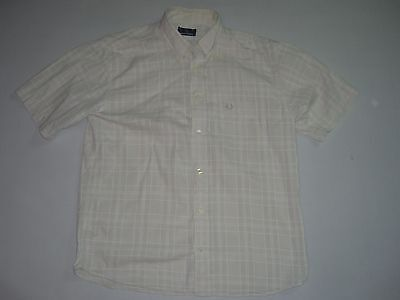 Mens FRED PERRY Beige Short Sleeved Checked Shirt Size L