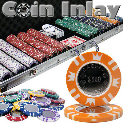 New 600 Coin Inlay 15g Clay Poker Chips Set with Aluminum Case - Pick Chips!