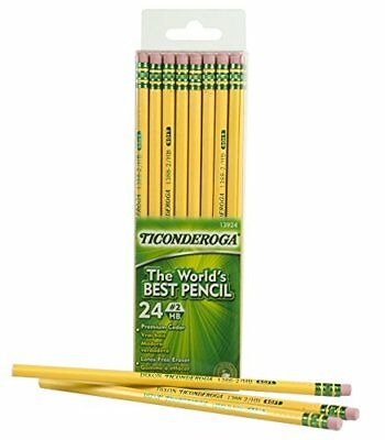 Dixon Ticonderoga Wood Cased #2 HB Pencils, School pencil lot, Box of 24, Yellow
