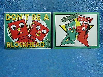Gumby and Pokey - Don't be a Blockhead 2pc Metal Sign Set Man Cave Home S9