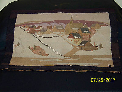 "Grenfell HandMade in Canadian Labrador Hooked Area Rug ""The Village"""