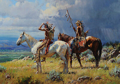 Native American Indian Hunting Horse Warrior Tribal Quality Canvas Print