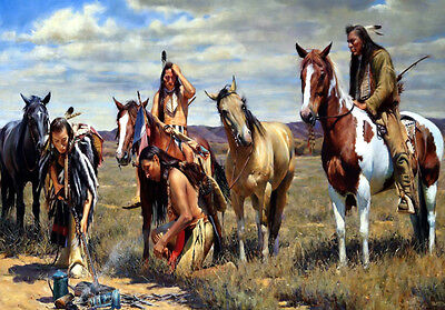 Native American Indian on Horse Horses Art Quality Canvas Print