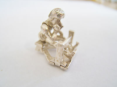 RARE VINTAGE STERLING SILVER MAN IN STOCKS CHARM MOVEABLE 4.6g