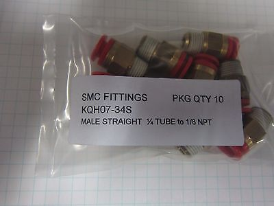 SMC KQ2H07-34AS Push to Connect Fitting 1/4 Tube to 1/8NPT NEW pkg10