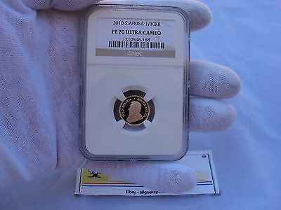 """2010 South Africa PF 70 Ultra Cameo NGC 1/10 Oz Gold Krugerrand """"Perfect Coin"""""""