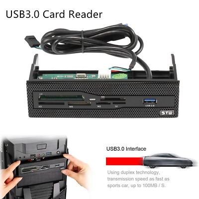 USB 3.0 Front Panel Memory Card Reader For Floppy PC , SD, TF, CF, MD, M2, MS ##