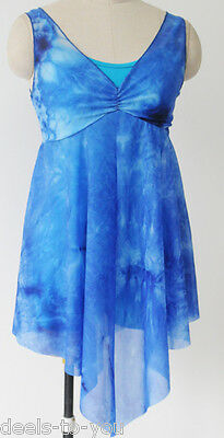 Blue And Aqua Tie Dyed Lyrical Ballet Dance Modern Costume Child And Adult Sizes