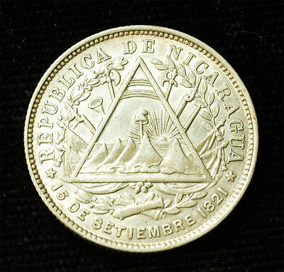 1887 H Nicaragua silver 20 cents AU Free S&H