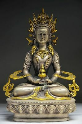 Collectible Chinese Silver Gilt Handwork Carved Tibetan Buddhism Statue