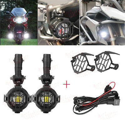 LED Auxiliary Fog Lights + 40A Wiring Harness Switch Fit BMW Motorcycle R1100GS