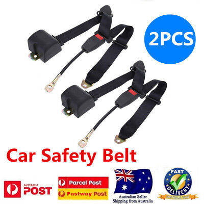 2x Black Universal Retractable Seat Belt 3 Point Auto Car Lap Adjustable Belt