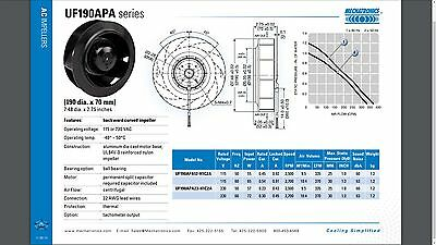 Mechatronics Impeller UF190APA12-H1C2A  115VAC 370CFM 65 watt motor Blower HVAC