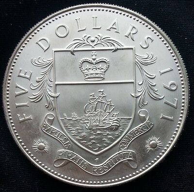 Bahamas 1971 Sterling Silver Proof 5 Dollars Coin Heavy 42.8 Grams