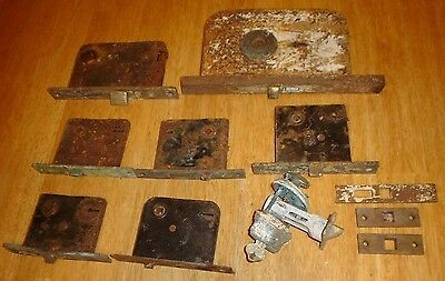 Antique Lot Victorian Brass & Steel Door Knob Locks Vintage Hardware Old Parts
