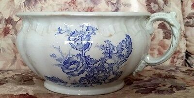 Floral Antique Light Color Gray and  BlueTransfer Ware Ironstone Chamber Pot