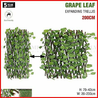 Expanding Trellis Artificial Plant Garden Green Wall Leaf Ivy Wood Fence 200cm