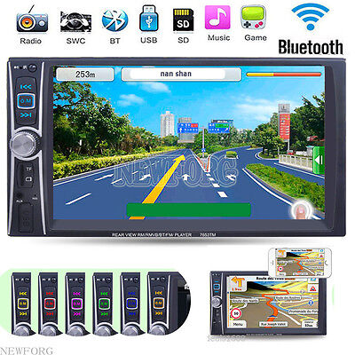 GPS Navigation HD Double 2DIN Car Stereo USB MP3 Player Bluetooth Touch FM Radio