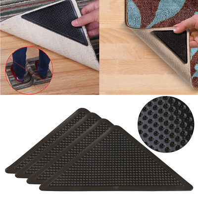 4pcs Anti-skid Rubber Floor Washable Carpet Mat Rug Gripper Stopper Tape Sticker