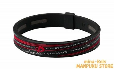 Phiten RAKUWA Bracelet Slash line Silicon TITANIUM 15cm Black Red F/S tracking