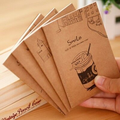 Cute Kraft Cover Note Book Journal Diary Blank Page Stationery Graffiti Planner