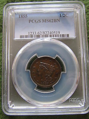 1855 Braided Hair Half Cent PCGS MS62 BN 1/2 Penny Chocolate Brown EAC US Coin