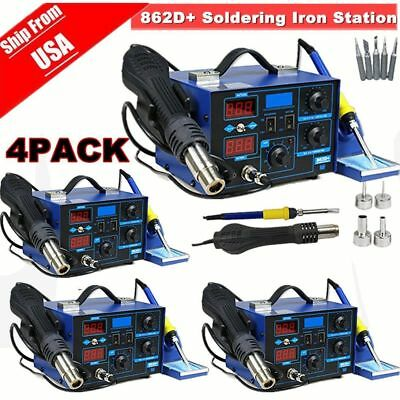 1/2/4 Soldering Rework Stations SMD Hot Air & Iron Desoldering Welder ESD 862D+