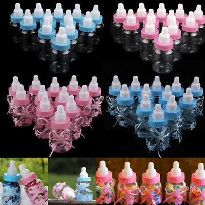 24 Fillable Bottles for Baby Shower Favors Blue Pink Party Decorations Boy Girl