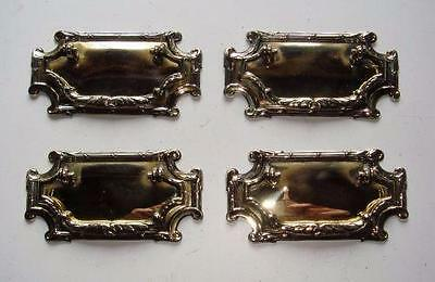 Original Set of 4 Edwardian Brass Drawer Pull Handles dated 1910