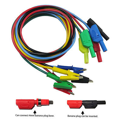 P1018A Banana Plug To Crocodile Alligator Clip Test Probe Lead Wire Cable Set 5X