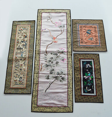 Antiques Chinese Embroidered Silk Panel Embroidery Garden Woman Bird Flowers